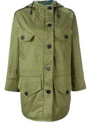 Coach Hooded Parka Coat Green