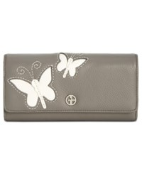 Giani Bernini Leather Butterfly Receipt Manager Wallet Created For Macy's Grey Ivory