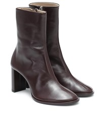 The Row Teatime Leather Ankle Boots Black