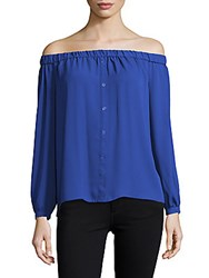 Vince Camuto Button Front Off The Shoulder Pullover Core Blue
