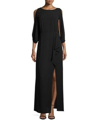 Bcbgmaxazria 3 4 Sleeve Faux Wrap Dress With Sequined Back Black