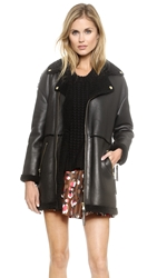 Red Valentino Shearling Coat Black
