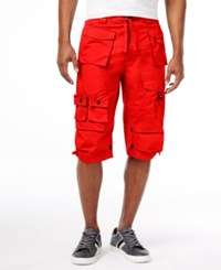 Sean John Men's Multi Pocket Flight Shorts Fiery Red