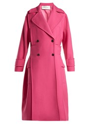 Valentino Double Breasted Wool Blend Coat Pink