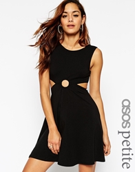 Asos Petite 90S Skater Dress With Metal Ring And Cut Out Sides Black