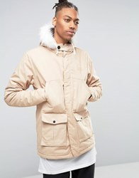 Hype Parka With Faux Fur Hood Sand Beige