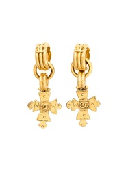 Chanel Vintage Cross Clip On Earrings Yellow And Orange