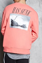 Forever 21 Censor Ship Graphic Sweatshirt Coral Black