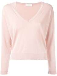 Zanone V Neck Sweater Pink Purple