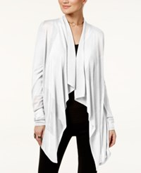 Inc International Concepts Petite Open Front Draped Illusion Cardigan Only At Macy's White