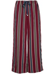 Astraet Striped Cropped Trousers Red