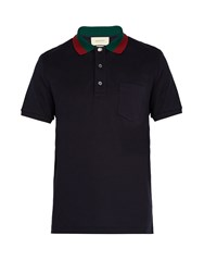 Gucci Web Striped Collar Polo Shirt Navy