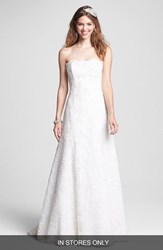 Bliss Monique Lhuillier Women's Strapless Beaded Lace Wedding Dress Ivory