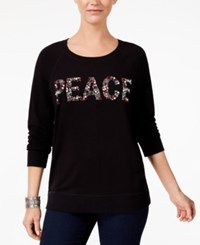 Style And Co Petite Embellished Peace Sweatshirt Created For Macy's Deep Black