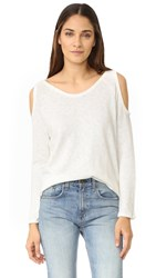 Bobi Cold Shoulder Sweater White
