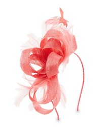 Scala Bow And Feather Accented Headband Coral