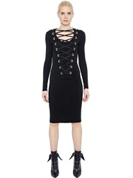 Givenchy Lace Up Milano Knit Jersey Dress Black