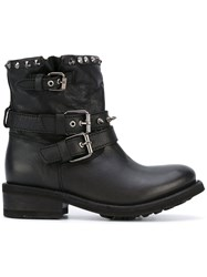 Ash Studded Buckle Boots Black