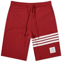 Thom Browne Four Bar Stripe Sweat Short Red