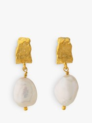 Alex Monroe Natural History Pearl Drop Earrings Gold White