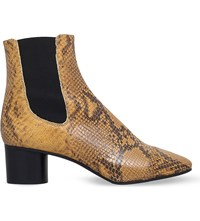 Isabel Marant Danae Reptile Effect Leather Ankle Boots Camel Oth