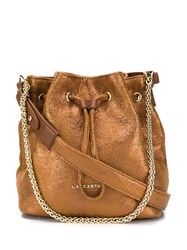 Lancaster Metallic Bucket Bag Brown