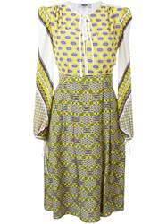 Msgm Multi Print Flared Dress Women Silk 38 Yellow Orange
