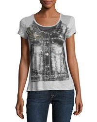 Romeo And Juliet Couture Denim Vest Graphic Tee Gray