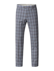 Gibson Men's Pale Blue Check Trousers Blue