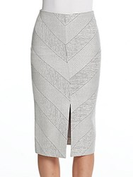Nicholas N Textured Ponte Split Pencil Skirt Light Grey