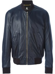 Paul Smith Ps By Zipped Leather Jacket Blue