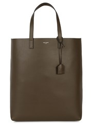 Saint Laurent Dark Brown Leather Tote Khaki