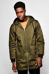 Boohoo Ma1 Zip Through Hooded Anorak Khaki