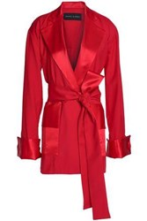 Michael Lo Sordo Belted Satin Trimmed Wool Twill Coat Red