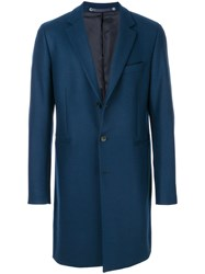Paul Smith Ps By Classic Single Breasted Coat Wool Nylon Cashmere Viscose Blue