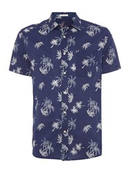 Howick Men's Tropicana Print Short Sleeve Shirt Navy