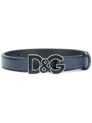Dolce And Gabbana Logo Belt Blue