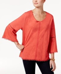 Style And Co Crochet Trim Bell Sleeve Top Only At Macy's Aurora Rose