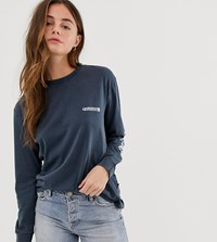 Quiksilver Standard Long Sleeved T Shirt In Blue