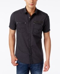 Inc International Concepts Men's Dare Zip Pocket Short Sleeve Shirt Only At Macy's Deep Black