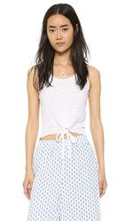 Cupcakes And Cashmere Rose Tie Front Linen Tank White