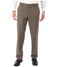 Dockers Signature Khaki D2 Straight Fit Flat Front Dark Pebble Stretch 1 Men's Casual Pants Brown