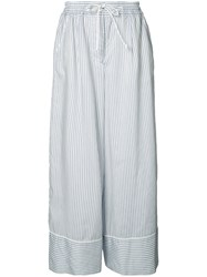 Sacai Wide Fit Pinstripe Trousers Blue