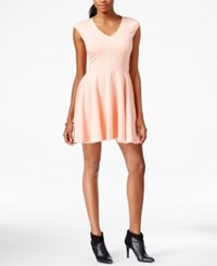 Bar Iii Cap Sleeve Fit And Flare Dress Coral Mist