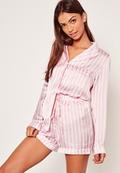 Missguided Striped Pyjama Set Pink