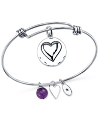 Unwritten Unwrittten 'Grandma You Are Always Loved' Charm And Amethyst 8Mm Bracelet In Stainless Steel