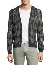 Versace Argyle V Neck Cardigan Multi