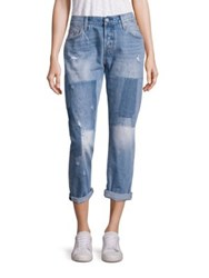 Levi's 501 Light Wash Patchwork Cropped Jeans Stacked Patches