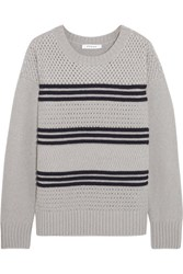 Frame Striped Wool Blend Sweater Gray