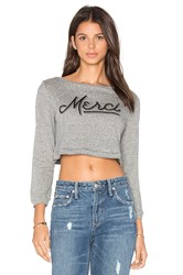 Clayton Merci Long Sleeve Crop Top Gray